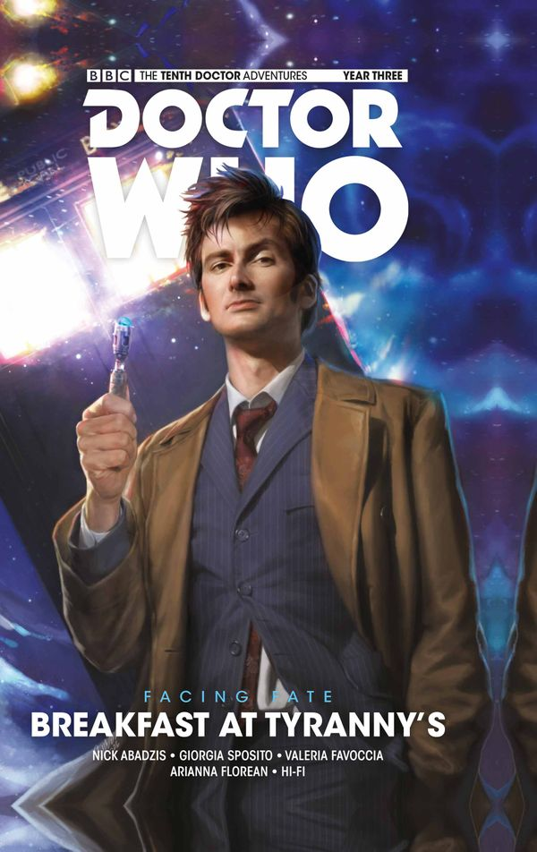 [Cover Art image for Doctor Who: The Tenth Doctor: Facing Fate - Volume 1: Breakfast at Tyranny's]